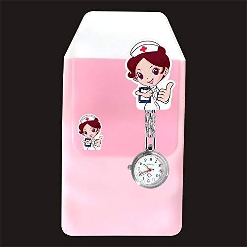 Cxypeng Broche de Reloj de Bolsillo,Combinación de Reloj de Pecho de Enfermera médica, Reloj de Dibujos Animados y Estuche de lápices-lechoso,Reloj de Bolsillo Medico de Enfermera
