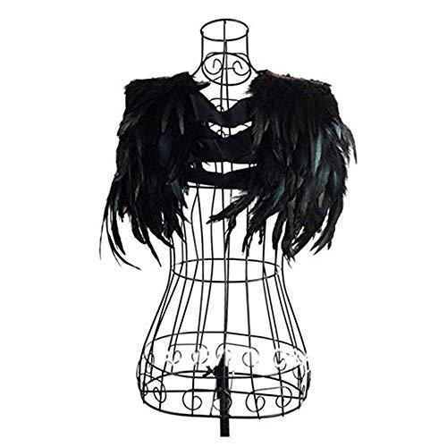Yoodeet Plumes noires couture coupe collier épaule châles paon robe de soirée à franges robe de cocktail ailes d'ange