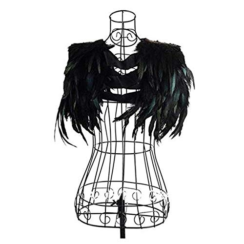 Yoodeet Pluma negra Costura Recorte Cuello Hombro Pavo real Chales Flecos Vestido de noche Alas de ángel Vestido de cóctel