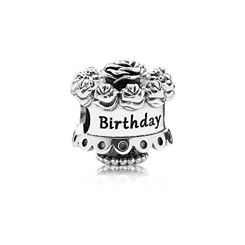 Angelazy Colgantes De Plata 925 para Mujerm,Romántico De Moda Cute Chainless Happy Birthday Cake Forma Encante para Damas Accesorios Joyas Regalo De Cumpleaños Parte Accesorios