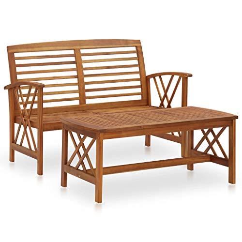 vidaXL Madera Maciza de Acacia Juego de Muebles de Jardín 2 Piezas Butaca Asiento Exterior Patio Elástica Estable Duradera Sofá Salón