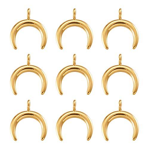 Cheriswelry 10 colgantes de luna en 3D Cresent, hipoalergénicos, de acero inoxidable, doble cuerno para joyas, collares, pulseras, manualidades