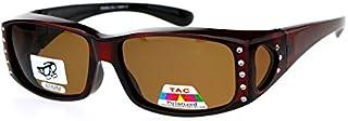 Womens Polarized Fit Over Glasses Sunglasses Rhinestone...