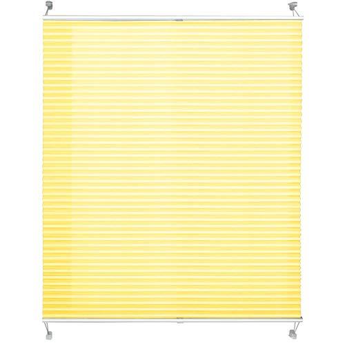 casa pura® Plissee Rollo | mit eleganter Crushed Optik | Klemmfix ohne Bohren | lichtdurchlässig & blickdicht | gelb | 8 Größen (55x200cm)