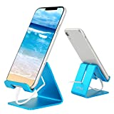 Desk Cell Phone Stand Holder Aluminum Phone Dock Cradle Compatible with Switch, All Android Smartphone, for iPhone 11 Pro Xs Xs Max Xr X 8 7 6 6s Plus 5 5s 5c, Accessories Desk (Blue)