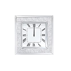 Benjara Benzara Mirror Framed Wooden Analog Wall Clock with Crystal Accents, White
