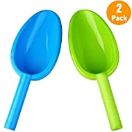 Large Beach Shovels Spade 14inch/35cm Snow Sand Shovels With Long Handle,Beach Toys Jumbo Durable ABS Plastic Spades Scoops Shovels for Kids Teens Adults Beach Fun Party Boys&Girls Gift (Blue&Green)