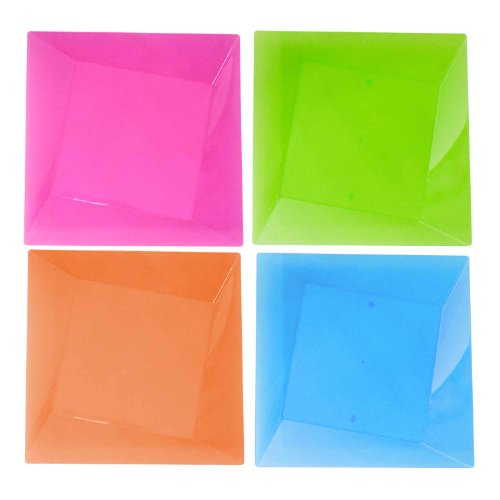 Party Essentials Hard Plastic Square Twist 9.5-Inch Party/Dessert Plates, Assorted Neon, 10 Count