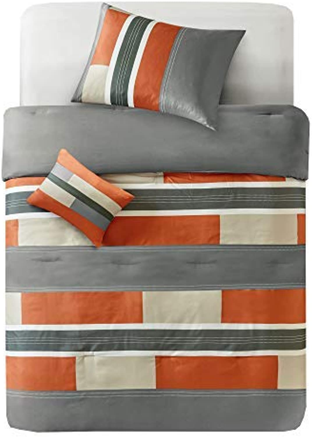 Comfort Spaces Pierre 3 Piece Comforter Set All Season Ultra Soft Hypoallergenic Microfiber Pipeline Stripe Boys Dormitory Bedding, Twin Twin XL, orange Grey