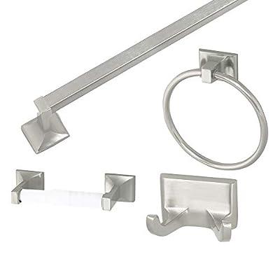 Design House 534644 Millbridge 4-Piece Bathroom Accessory Kit, Satin Nickel Finish