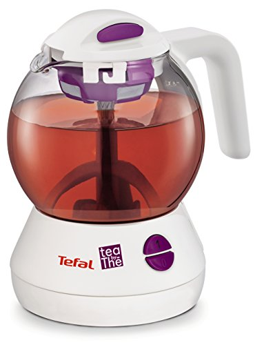 Tefal Tea-By-The - Tetera eléctrica, 600 W, vidrio, blanco/morado