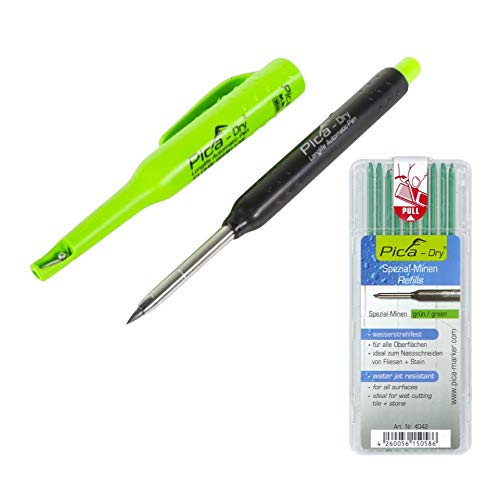 Pica DRY Longlife Automatic Pen Tieflochmarker (3030) + 10 tlg. Spezial Minen Set Wasserstrahlfest Grün (4042)