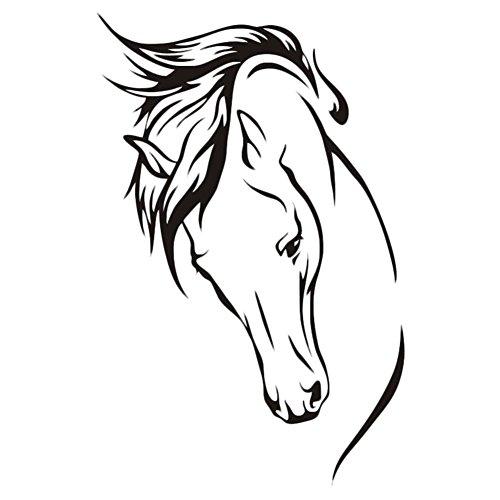 Demarkt Pferdekopf Wandaufkleber Wandtattoo Wandsticker Wandbilder Aufkleber für Restaurant Wohnzimmer