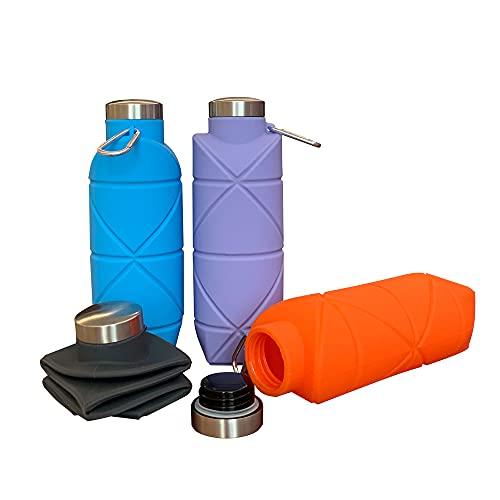 AcQuita-Eco Borraccia Silicone Super Leggera Pieghevole con gancio(Dark grey) 700ML BPA FREE, campeggio, sport, escursionismo, trekking, running, palestra