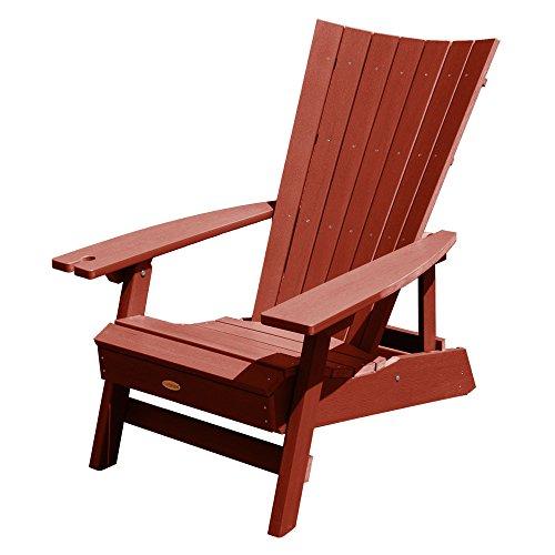 highwood AD-ADRID29B-RED Manhattan Beach Adirondack Chair, with Wine Glass Holder, Rustic Red