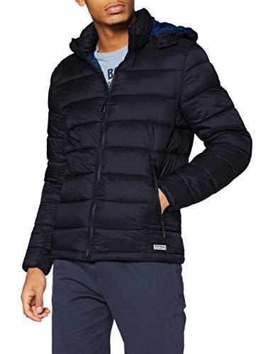 Springfield Chaqueta Acolchada Relleno Dupont Sorona Capucha Desmontable Quilted Jacket, Azul Marino, L para Hombre