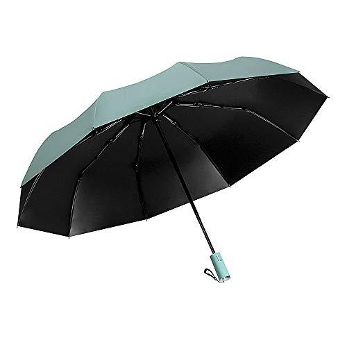 XHZ Umbrella Creative Vollautomatischer dunkelgrüner Regenschirm aus schwarzem Kunststoff Mehr als 90 Prozent der ultravioletten Strahlen der Barriere sind für sonnige und regnerische