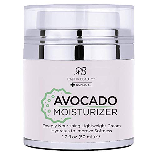 Radha Beauty Glow Boosting Avocado Moisturizer,1.7 fl oz. for Face, Neck, Decollete - Super Moisturizing Facial Lightweight Cream, Anti-Aging & Brightening - Daily for Dry, Sensitive & Oily Skin