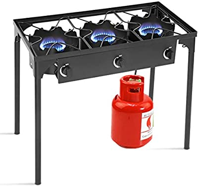 HAPPYGRILL Outdoor Camping Stove 3-Burner High Pressure Propane Gas Camp Stove with Detachable Legs