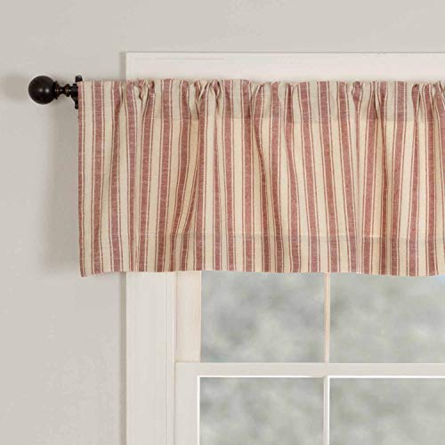 """Market Place Red Ticking Stripe Valance, 16"""" x 72"""", Farmhouse Kitchen Curtain in Brick Red & Natural Cream Stripes"""