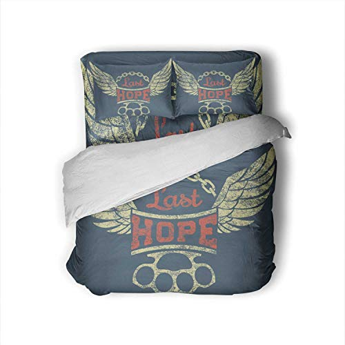 C COABALLA Last Hope.Label with Wings,Full Size Cotton Sateen Sheet Set - 4 Piece - Supersoft Chain and Knuckles on for t-Shirt Print Full