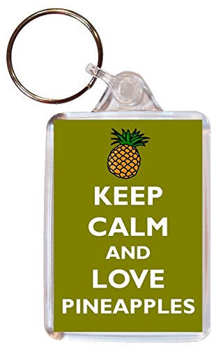 Keep Calm and Love Pineapples - Double Sided Large Keyring Key Ring Fob Chain Name Tag Souvenir/Gift/Present