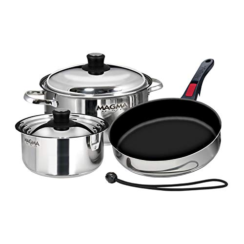 Magma Products, A10-363-2-IND, Gourmet Nesting 7-Piece Stainless Steel Induction Cookware Set with Ceramica Non-Stick, Silver