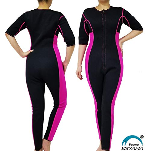 SISYAMA Sauna Sweat Workout Exercise Fitness Weight Loss Hot Slimming Suit Men Women (Pink-Long, Large)