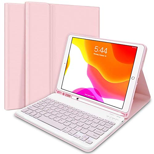 iPad Keyboard Case 10.2' 8th/7th Gen for iPad 2020/2019, Wireless Detachable BT Keyboard Case with Pencil Holder Compatible for iPad 10.2'/ iPad Air 3/ iPad Pro 10.5