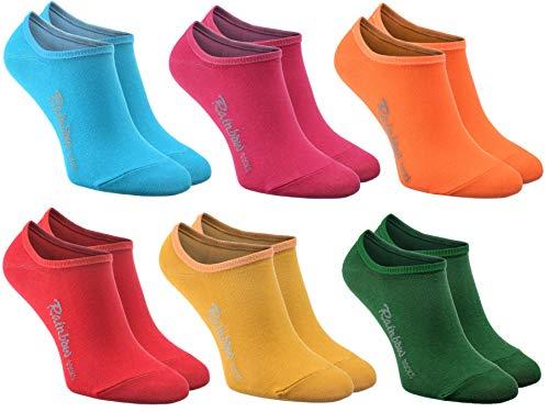 Rainbow Socks - Mujer Hombre - Coloridos Bunte Calcetines Bajos Invisibles de Algodón - 6 Pares - Azul Fucsia Naranja Rojo Amarillo Verde - Tamaños 42-43