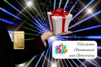 Deutsches Goldkontor 1,0 Gramm Feingold Motiv-Karte Geburtstag Goldbarren / 999,9 Gold