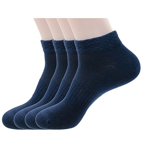 Mens Navy Blue Sports Low Cut Ankle Socks, Cotton & Pearl-Fiber Diabetic No Show Socks Odor-Control Moisture-Wicking Soft Comfy Breathable Socks for Sweaty Feet (4 Pack)