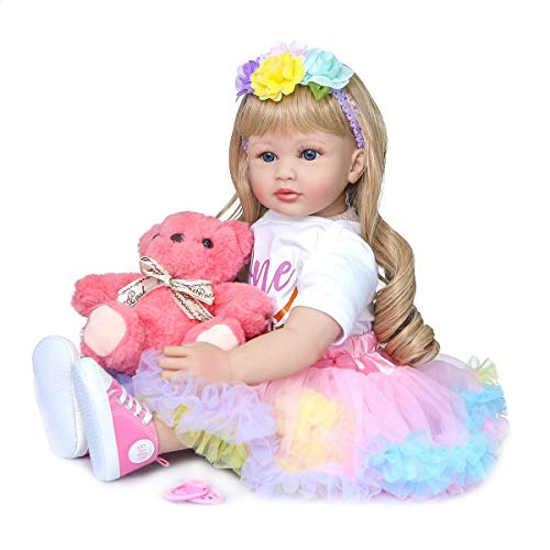 Toddler Reborn Baby Doll Girl Princess with Curly Blonde Hair 24 Inch 60cm Real Life Looking Reborn Toddler Dolls Soft Body Snuggle Cuddle Doll for Girls Gifts (24 inch Girl Colorful Dress)