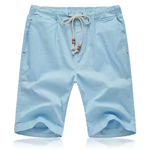 Tansozer Mens Shorts Casual Drawstring Summer Beach Shorts with Elastic Waist and Pockets (Sky Blue, Large)