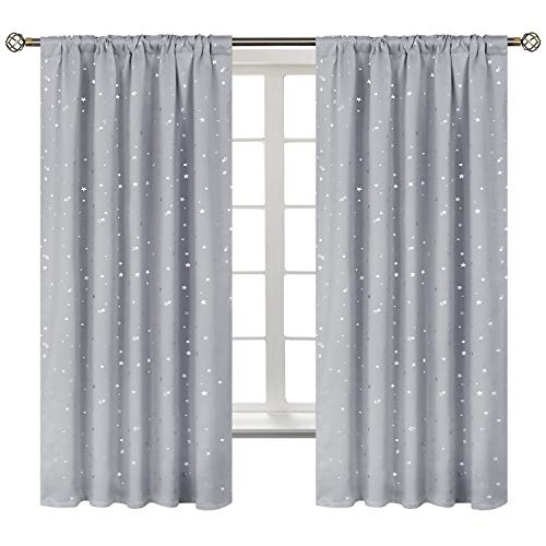 BGment Star Blackout Curtains for Kids Bedroom - Rod Pocket Thermal Insulated Room Darkening Printed Curtains for Living Room, Set of 2 Panels ( 42 x 63 Inch, Light Grey )