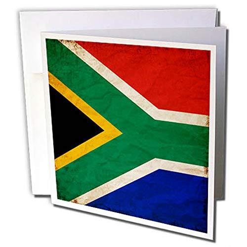3dRose gc_255839_1 wenskaart met Zuid-Afrikaanse vlag, Old Look Trendy Work, 15,2 x 15,2 cm, 6 stuks