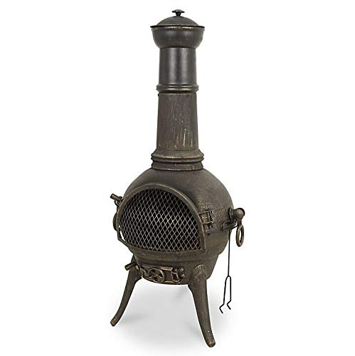 Tall Modern Cast Iron & Steel Etinas Chimenea, Log Burner (Large Garden Patio Heater, Fire Pit BBQ Chiminea)