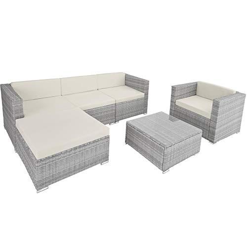 TecTake 800806 Hochwertige Luxus Polyrattan Sitzgruppe Lounge Set für Garten und Terrasse, inkl. Sitz- und Rückenkissen, Gartenmöbel Set mit Sofa, Sessel und Tisch (Hellgrau)