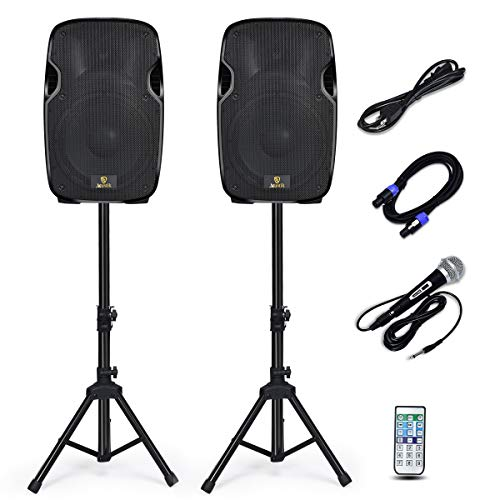 AKUSTIK Dual 2-Way Powered PA Speaker System, Portable DJ Speaker with Active + Passive Speakers, 2 Speaker Stands, Microphone, Bluetooth, USB/SD Card, FM Radio, Remote Control (Dual x 12 Inch)