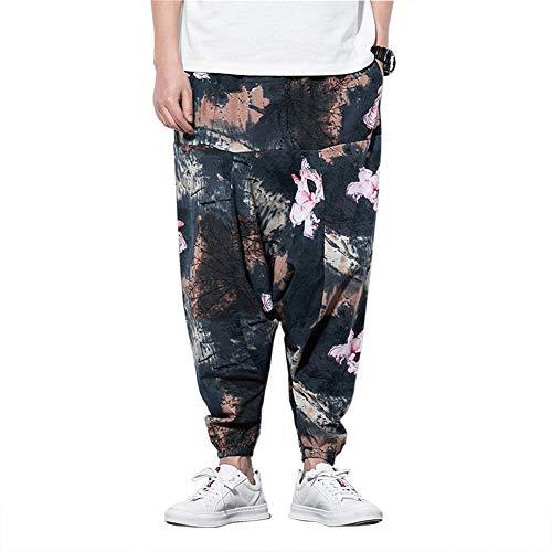 MISSMAOM_Fashion2019 Hombre Mujer Pantalones Harem Unisex Bombachos Ligeros, Hippies, de algodón, Casuales, Boho, Hechos a Mano para Yoga,Gris,2XL