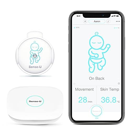 Sense-U Baby Monitor 2 con sensores de temperatura de movimiento de vuelco: rastrea el movimiento, vuelco y temperatura de tu bebé desde cualquier lugar (con estación base)