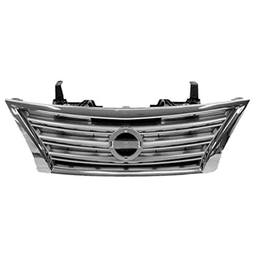 Koolzap For 13-15 Sentra S/SL/SV Front Grill Grille Assembly Chrome Shell Silver Insert