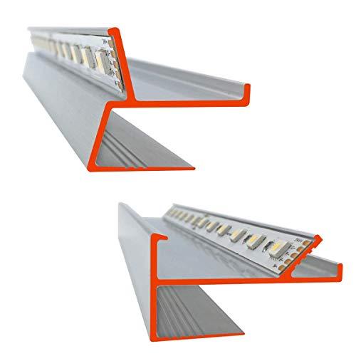 iluminize LED Trockenbau-Profile: MUSTERSTÜCKE Set bestehend aus 1 x Lichtvoute VT (30 cm lang) & 1 x Schattenfuge SF (30 cm lang) für 12,5 mm Gipsplatten (MUSTER Set SF + VT)