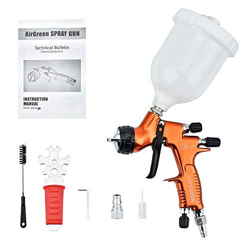 S SMAUTOP Kit profesional de pistola de pintura para automóviles TES 1.3mm Boquilla Cuerpo de pistola forjado Diseño de alta atomización Pistola de pulverización con vaso de plástico de 600cc