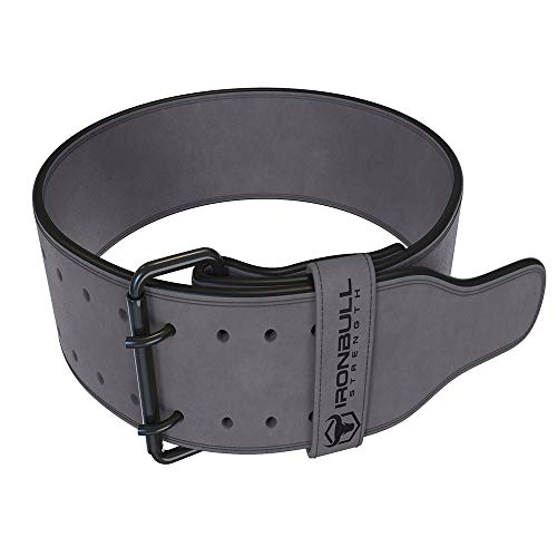 Iron Bull Strength Powerlifting Belt/Weight Lifting Belt - 10mm Double Prong - 4-inch Wide - Advanced Back Support for Weightlifting and Heavy Power Lifting (Grey, Medium)