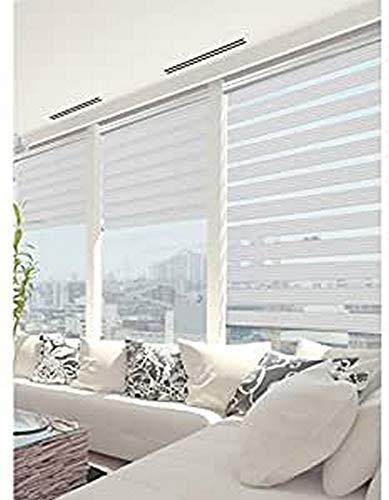 MADECOSTORE Double Store Enrouleur Jour Nuit Must - Blanc et noir - L94 x H250cm - Fixation avec perçage - Chaînette chromée