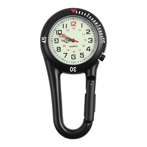 Hemobllo Quarzuhr mit Clip aus Legierung Nachtlicht Rucksack Unisex Gürtel Schnalle Uhr schwarz mit weißem Zifferblatt Ideal für medizinische Kranken-Messungen (schwarz)