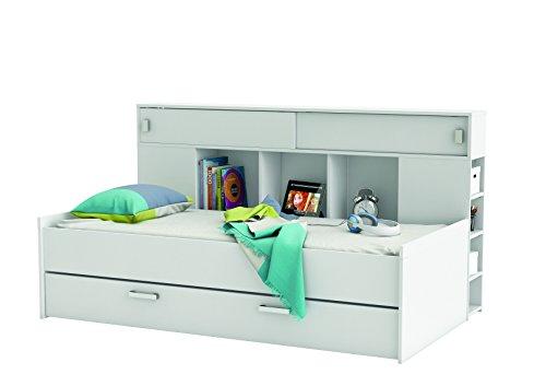Demeyere 407011 Bettüberbau, Bett mit Bettkasten 90 x 200 cm SHERWOOD, weiß - 2
