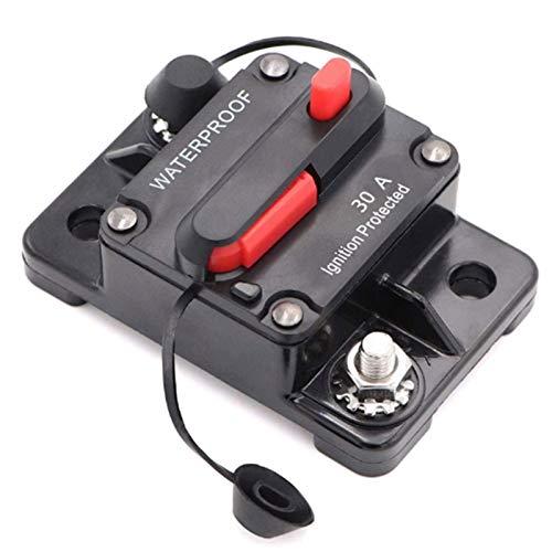 Mottdam Disyuntor de circuito de coche de 30 A, 12 V-48 V CC, resistente al agua, interruptor de circuito en línea de audio de coche con reinicio manual, inversor para coche, barco marino (30 A)