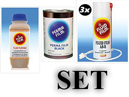 Fluid Film Liquid NAS 1 Liter, 3 x Fluid Film AS-R 400 ml Sprüdose+1Sonde 60cm + Fluid Film Perma Film Black 1 Liter